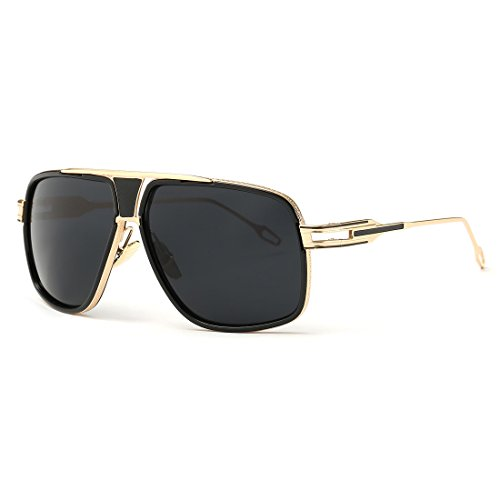 AEVOGUE Aviator Sunglasses For Men Goggle Alloy Frame Brand Designer AE0336 (Gold&Black, - Aviator Square Sunglasses Mens
