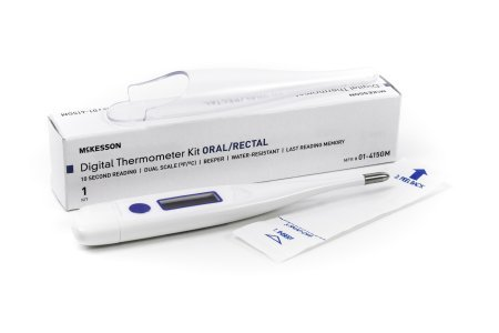 McKesson 01-415GM Entrust Digital Thermometer Kit, Oral/Rectal, 10 Second Reading, Blue by McKesson
