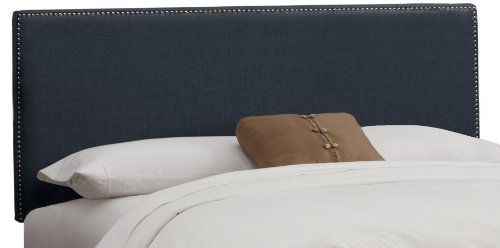 Border Queen Headboard - Skyline Furniture Nail Button Border Queen Headboard in Linen Navy
