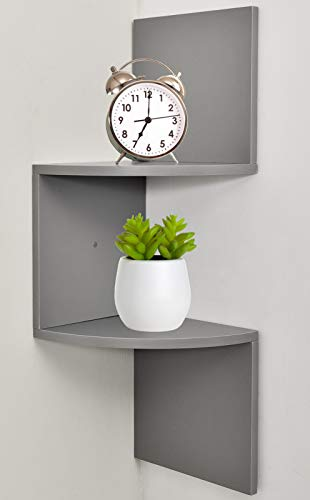 Greenco Zigzag 2 Tier Corner Floating Shelves, Gray - With Mirrors Bathroom Corner Shelf