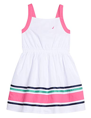(Nautica Girls' Solid Sleevless Fashion Dress poplin white S7)