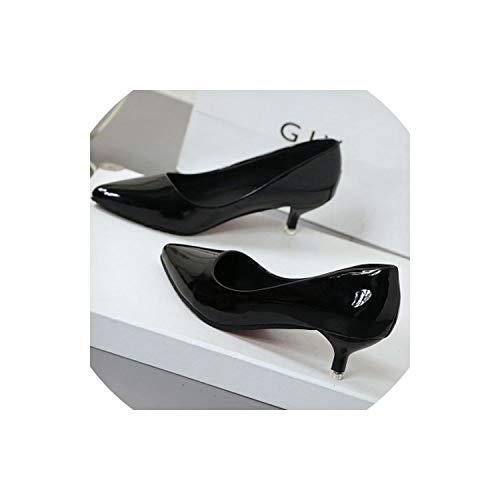 3' Platform Black Pump - Sunshine-Family Spring and Autumn Women's Single Shoes Korean Pointed Wild Shallow Mouth Bow,Black 4Cm,8
