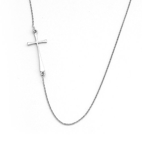 (Beauniq Solid Sterling Silver Rhodium Plated Offset Sideways Cross Pendant Necklace, 20