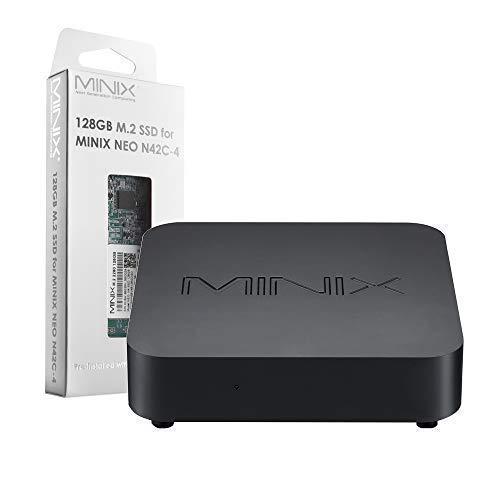 MINIX NEO N42C-4, Intel Pentium Mini PC Windows 10 Pro (64-bit) [4GB/32GB/Upgradeable/4K @ 60Hz/Triple Display/USB-C] +128GB M.2 2280 SATA III SSD,Sold Directly by MINIX Technology Limited.