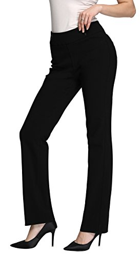 Women's Dress Pant w/Buttons | Straight & Slim Trousers For Work & Casual Wear | Black