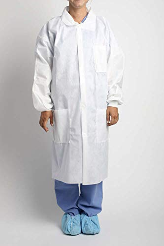 (MediChoice Laboratory Coats, Anti-Static, Three-Pocket, Knit Cuff, 5-Snap, Spunbond Meltblown Spunbond, Large, White (Case of)