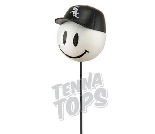 White Sox Baseball Car Antenna Topper + Yellow Smiley Antenna - White Ball Antenna