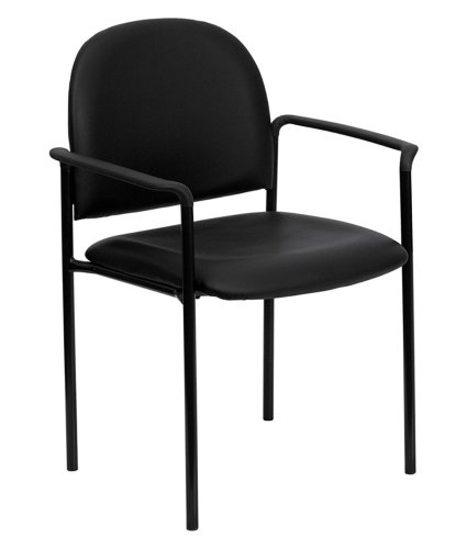 Offex OF-BT-516-1-VINYL-GG Black Vinyl Comfortable Stackable Steel Side Chair with Arms ()