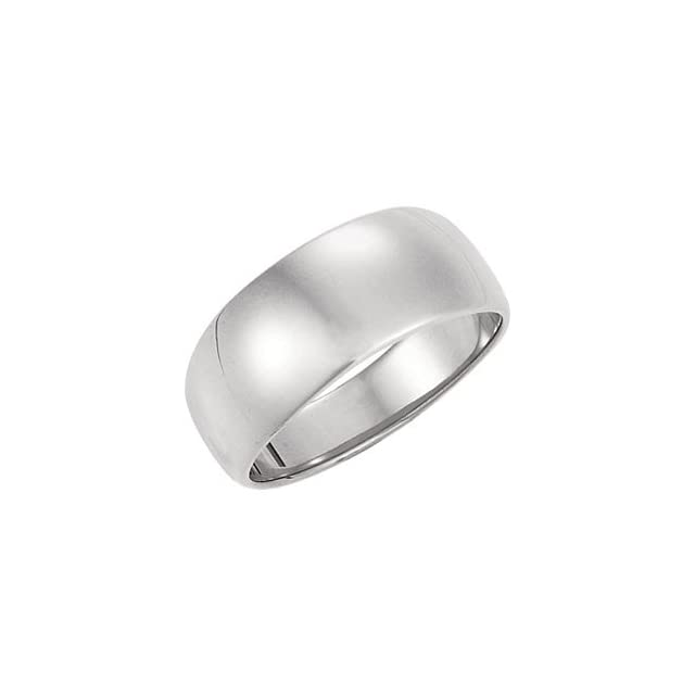 8mm Half Round Tapered Wedding Band Solid 10karat White or Yellow Gold Ring Jewelry