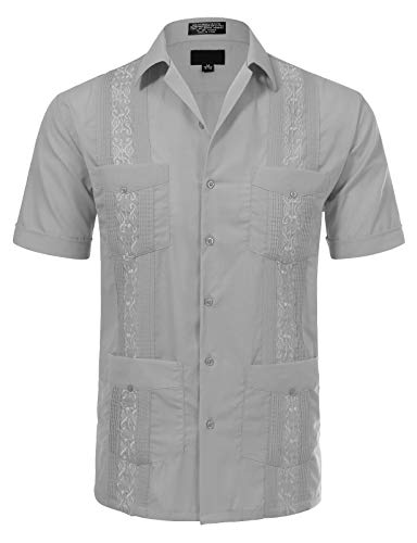 JD Apparel Men's Short Sleeve Cuban Guayabera Shirts18-18.5N 2XL Light Grey