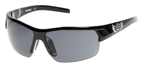 n's Winged B&S Sunglasses, Shiny Black Frame & Smoke Lens (Harley Davidson Prescription Sunglasses)