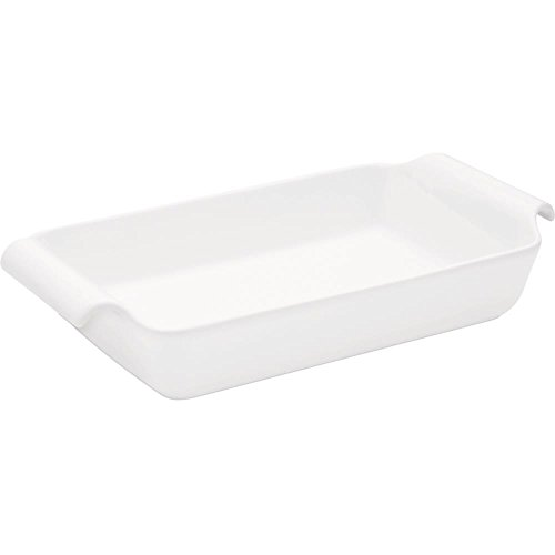 Oxford C04H Professional Porcelain Deep Roaster/Baking Dish with Handle, White