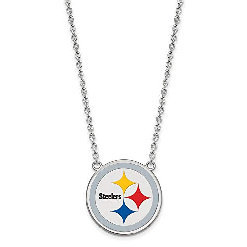 NFL Sterling Silver Pittsburgh Steelers Large Enamel Pendant with ()