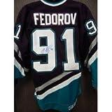 Signed Fedorov, Sergei (Anaheim Mighty Ducks) Authentic Game Anaheim Mighty Ducks Jersey Size 44 autographed