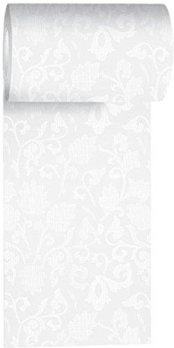 Duni Tischband aus Dunicel Damast-Druck weiß, 15 cm x 20 m