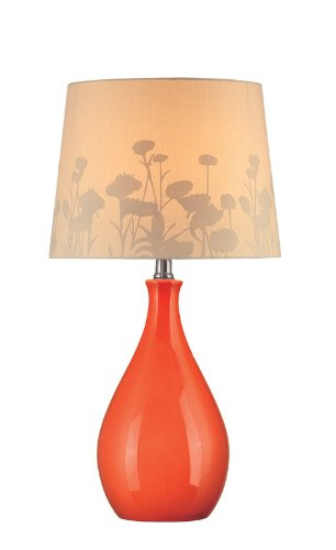 Lite Source LS-21489ORN Table Lamp, Orange Ceramic with Silhouette Paper Shade (Paper Source Lite)