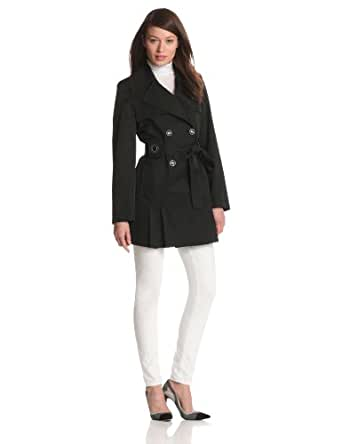 Via Spiga Women's Double Breasted Belted Spring Trench Coat With Pleating Details, Black, Large