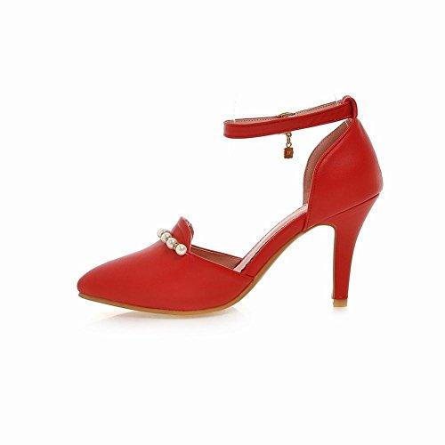 MissSaSa Damen Pointed Toe Knöchelriemchen high-heel Pumps mit Perlen und Strass elegant Stiletto Schnalle Kleidschuhe Rot
