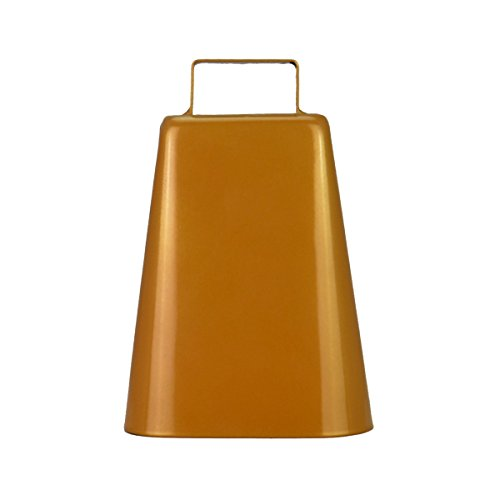 7 Inch Steel Cow Bell with Handle Antique Golden Finish