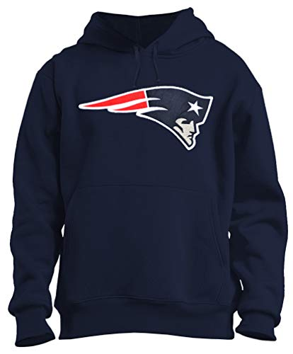 Mens Football Patriots Embroidery Cotton Pullover Jersey Hoodie (M) Navy