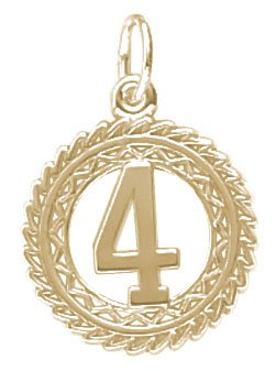 Rembrandt Charms Number 4 Charm, 14K Yellow Gold