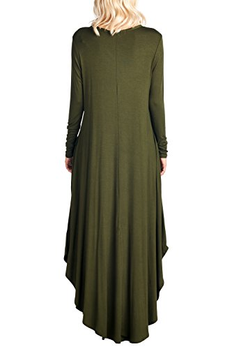 V Long XXXL Sleeve S Dress in Curved Hem Maxi Ami 12 Olive USA Neck Made wHtZStq