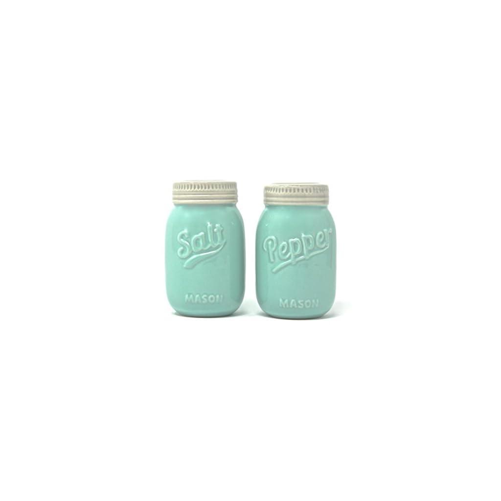 Vintage Mason Jar Salt and Pepper Shakers – Rustic, Farmhouse, Shabby Chic Mason Jar Decor – Mint Blue Sturdy Ceramic…
