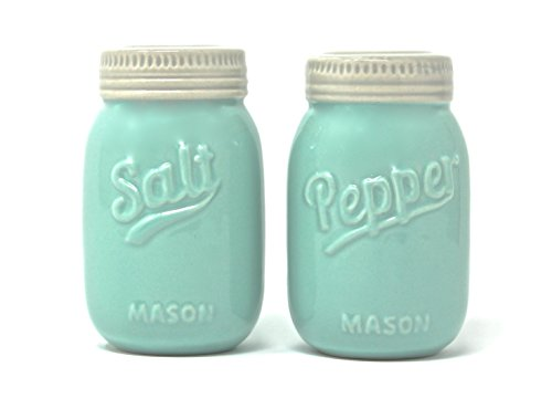 (Vintage Mason Jar Salt and Pepper Shakers - Rustic, Farmhouse, Shabby Chic Mason Jar Decor - Mint Blue Sturdy Ceramic Shakers make for Adorable Decorative Farmhouse Kitchen Decor )