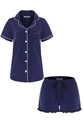 SofiePJ Women's Cotton Short Sleeve Short Pants Pajama Set Navy M