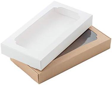Caja de cartón para panadería con ventana para pasteles, galletas, pasteles, pasteles, magdalenas, etc. (Blanco y Marrón/Tamaño 22 x 11.5 x 3 cm) Juego de 12 (6 Kraft/6 Blanco): Amazon.es: Industria, empresas y ciencia