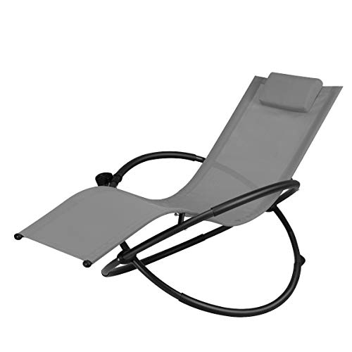 Cheap Goplus Outdoor Orbital Lounger Zero Gravity Patio Chaise Foldable Rocking Chair w/Removable Pillow & Cup Holder Portable Chair for Camping, Fishing, Beach (Grey)