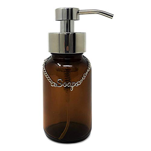 KreaSHen FOAMING Soap Dispenser Amber Glass Bottle/Premium Chrome Stainless Steel Foam Soap Dispenser Pump/Clear Bottle Ideal for Foam Hand Soap as Bathroom or Kitchen Accessories