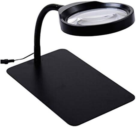 拡大鏡 ルーペ 10倍の金属のデスクトップは、テーブルライトを読むためのLED照明ルーペとイルミネーション拡大鏡を照らす