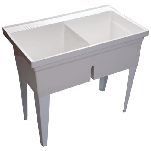 Proflo PFLT4024 40'' Double-Basin Free Standing Laundry Sink with 50/50 Split, White by ProFlo