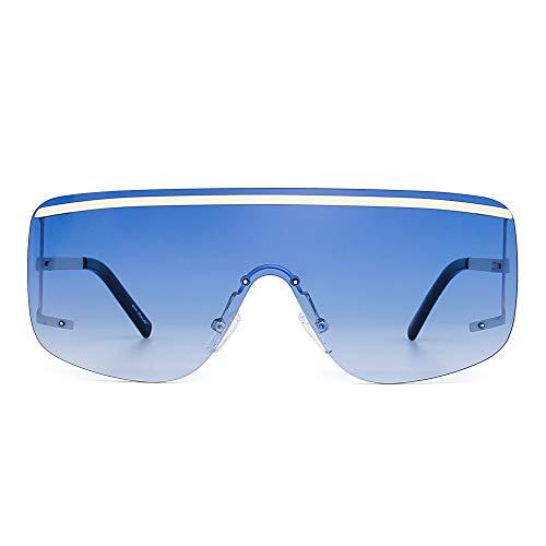 Plano Marco Gradiente Borde Lente Sin Anteojos Top Hombre Azul Sol Oversized Gradiente Mujer de Escudo Gafas Beige BqqYzp