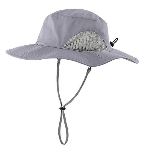 Home Prefer Kids Bucket Hat UPF50+ Sun Protection Hat Wide Brim Fishing Hat (Dark Gray) -