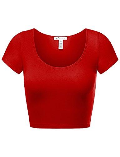 HATOPANTS Women's Cotton Basic Scoop Neck Crop Short Sleeve -