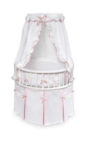 Elegance Round Wooden Baby Bassinet with Bedding, Canopy, and Storage
