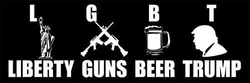 SKYNDI Trump LGBT Liberty Guns Beer Trump Car Window Vinyl Decal in White 7 x 4.7
