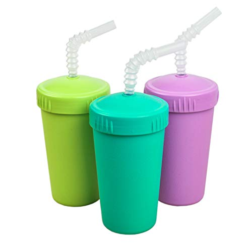 Re-Play Made in USA 3pk Straw Cups with Reversable Straw for Easy Baby, Toddler, and Child Feeding - Aqua, Lime, Purple (Mermaid)