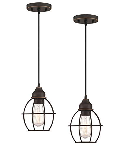WISBEAM Pendant Lighting Fixture with Oil Rubbed Bronze Finish, Hanging Lights with One Medium Base Max. 60 Watts, ETL…