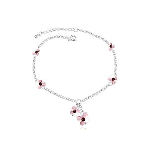 Adisaer White Gold Plated Womens BraceletLink Bracelets Butterfly Flower Cubic Zirconia Rose Red 16CM