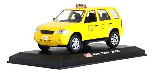 Ford Taxi Cab - Amercom 2005 Ford Escape Hybrid New York City Taxi Cab 1:43 Scale Diecast with Acrylic Display Case