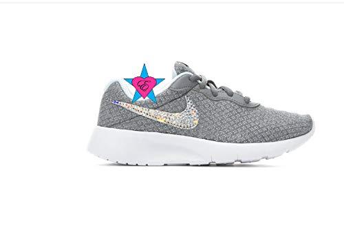 78cecce2fe Amazon.com: Rhinestone Crystal Little Kid Gray Nike Tanjun Sneakers:  Handmade