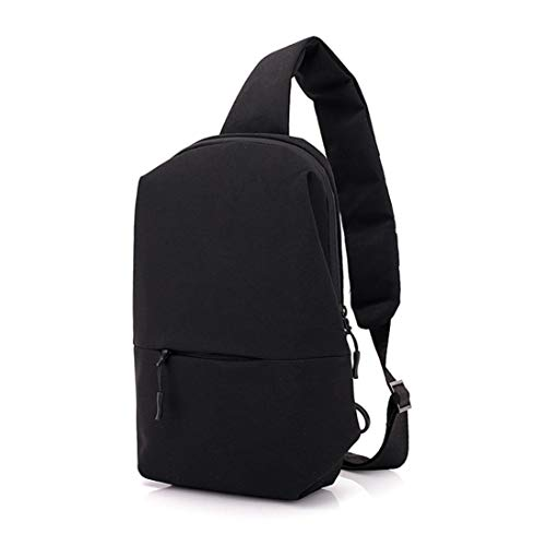 Repellent Small Outdoor Shoulder Riding Bag Canvas EUzeo Men Water Black Backpack Chest W8zqI0n1