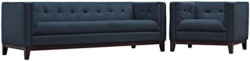 Modway Serve Modern Tuxedo Tufted Sofa and Armchair Set with Upholstered Fabric in Azure