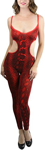 ToBeInStyle Women's Footless Python Cutout Crotchless Bodystocking - Red/Black -