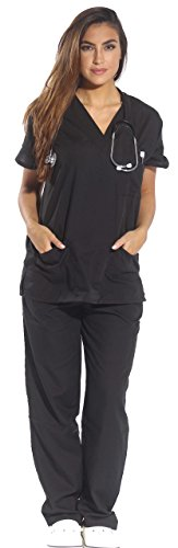 Just Love Women's Scrub Sets Six Pocket Medical Scrubs (V-Neck With Cargo Pant), Black, Medium