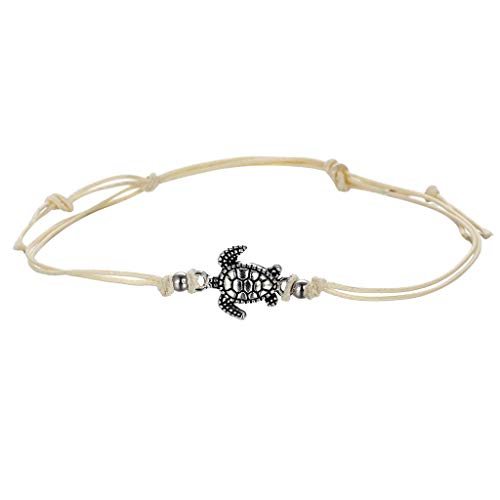 Malltop Shawn Bracelet for Women Vintage Wax Rope Turtle Anklet Bracelet Paved Chain Gold Silver Gift Love Wrist Band