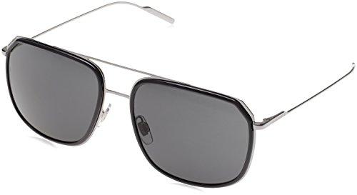 Dolce & Gabbana Men's DG2165 Polarized Sunglasses, Black/Pale Gold/Grey, One Size